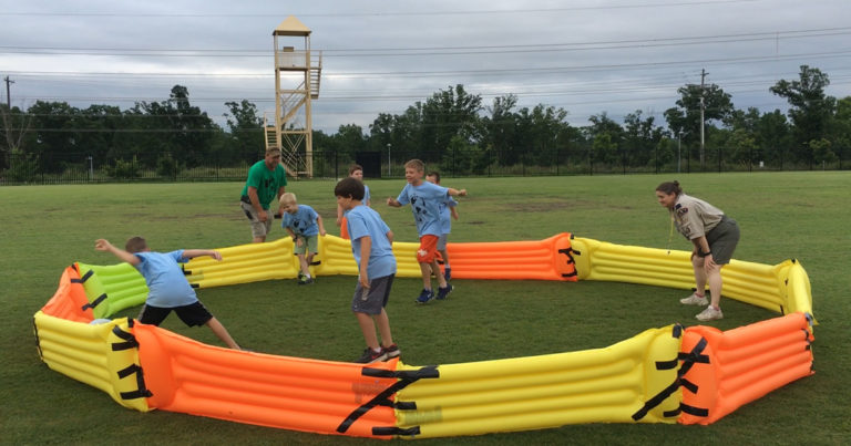 Leaders invent homemade inflatable gaga ball pit, and it's kind of genius