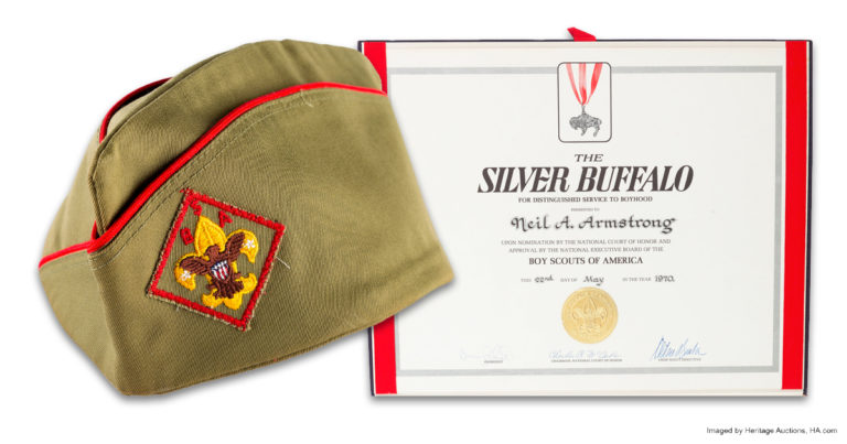 Neil Armstrong's Scout hat, Silver Buffalo Award among items to be sold by Heritage Auctions